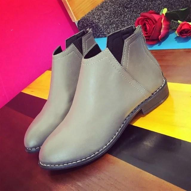 韓國范2016 秋 女靴子靴子 潮 保暖舒適平底厚底防滑短靴粗跟女