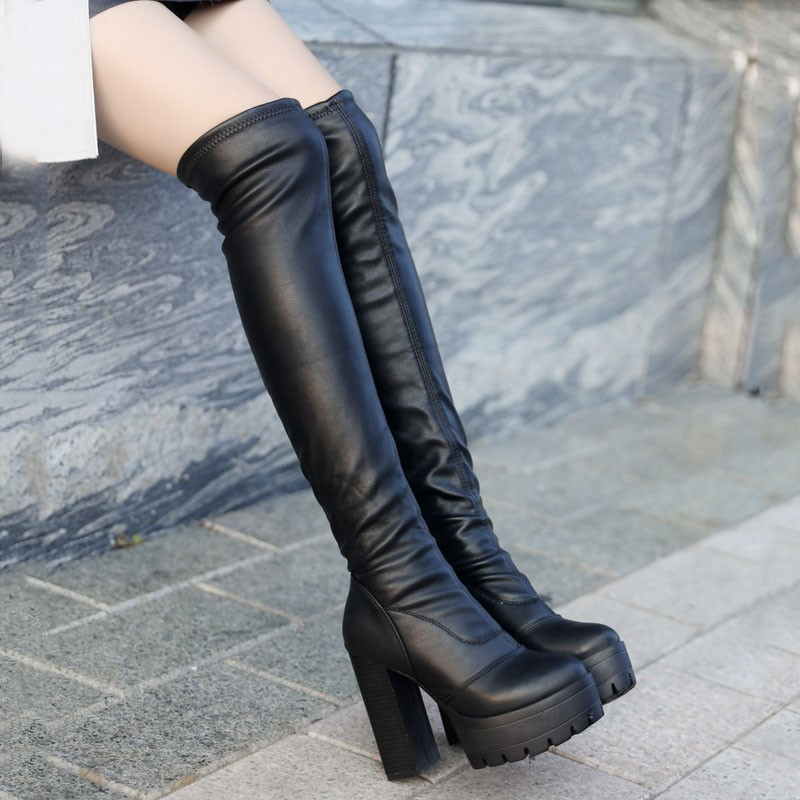 短靴高跟防水臺長筒靴女靴大碼40 43 高筒靴粗跟顯瘦腿彈力靴過膝長靴過膝靴短靴馬丁靴靴子