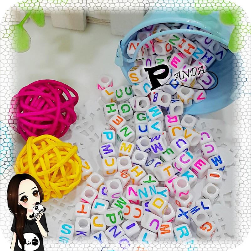 Panda 手作材料館 字母珠人工上色串珠方塊英文珠數字愛心珠 鑰匙圈DIY