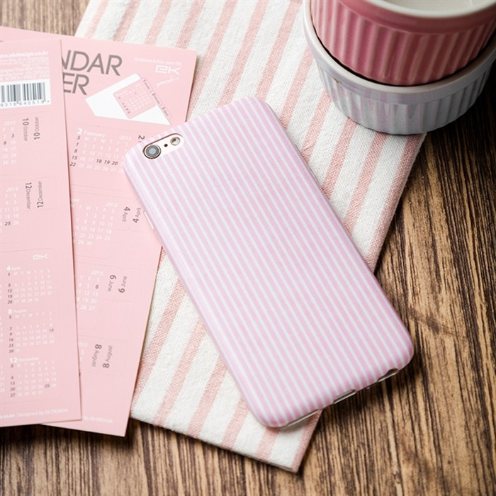 精裝鐵盒版百看不厭的清新粉紅直條紋IMD 不掉色工藝透明軟殼全包蘋果iPhone6 6S