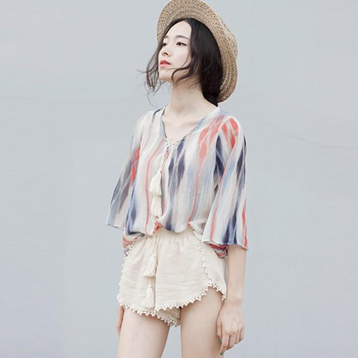 2016 夏裝新品喇叭袖上衣女襯衫 寬鬆印花防曬雪紡衫M0008