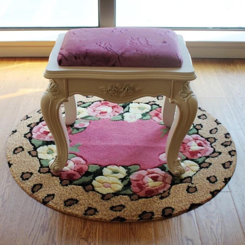 玫瑰花園圓型地毯椅子試衣間書房化妝椅兒童椅地墊鄉村風婚禮婚紗