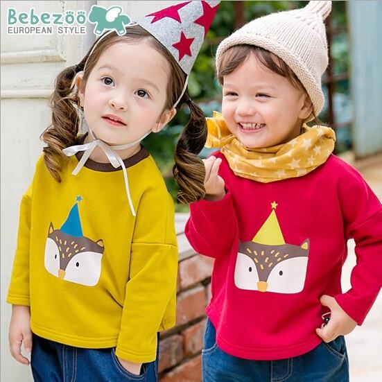 ✽Autumn 秋✽韓國Bebezoo 男女童印花小狐狸尾巴棉質長袖上衣長袖T 恤