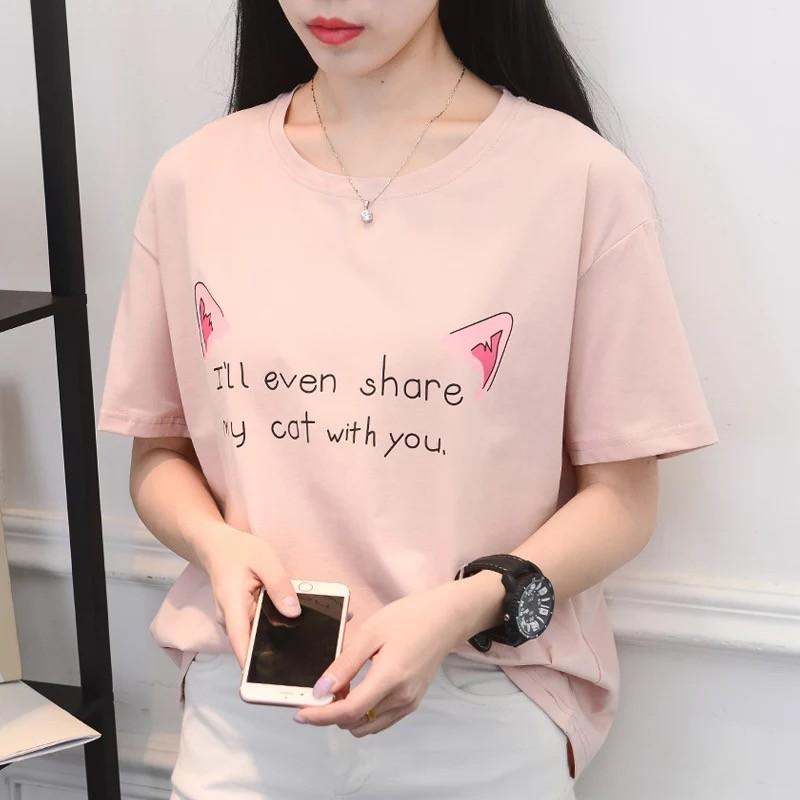 ~ ~韓國女裝 短袖t 卹女寬鬆卡通上衣服半袖體恤學生閨蜜裝潮小清新大學t