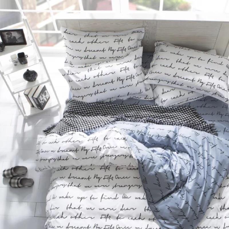 北歐簡約文學灰白床包四件組床單被套枕套床組無印良品ikea zera 雙人床兒童簡約專櫃