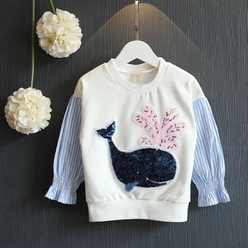 ~耐心等候~女童春裝2017 女童衛衣卡通亮片小海豚拼接蝙蝠袖上衣打底T 恤
