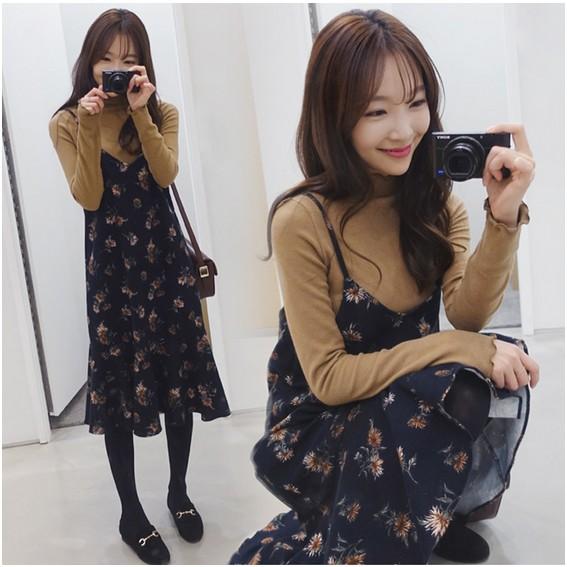 韓國甜美碎花中長款寬松顯瘦荷葉邊吊帶裙