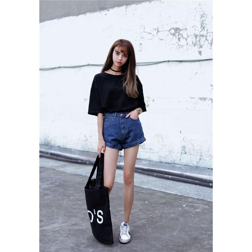 深藍白色26 碼公主街女裝復古風卷邊高腰牛仔短褲BH135