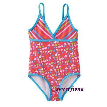 ㊣美國品牌PINK PLATINUM 滿版愛心條紋連身泳衣泳裝12M