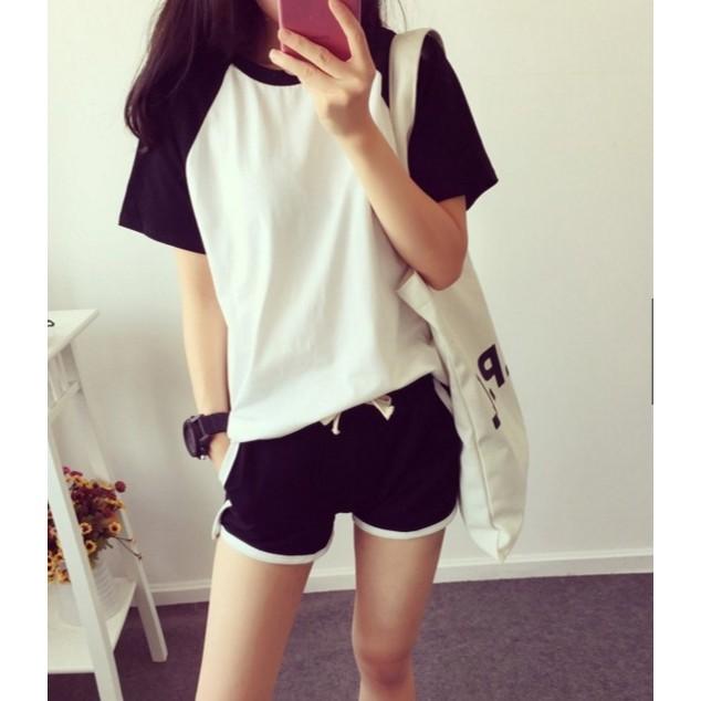 款 價夏裝  黑白拼接休圓領短袖修身T 恤短褲女 套裝~Trend Fitch