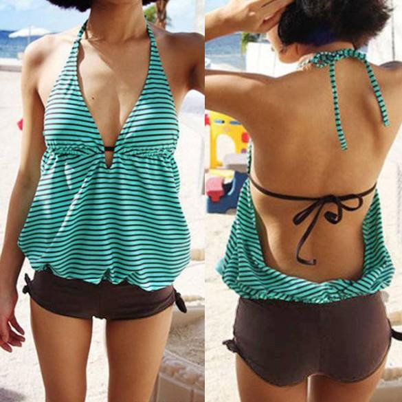 泳衣 連身 泳衣橫紋掛脖泳衣海灘度假超性感泳裝比基尼