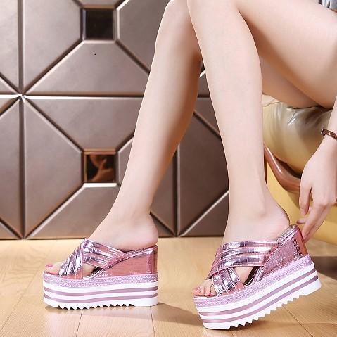 2016  松糕拖鞋女超高跟13cm 厚底內增高亮片魚嘴拖 半拖 松糕拖鞋女 松糕拖鞋女