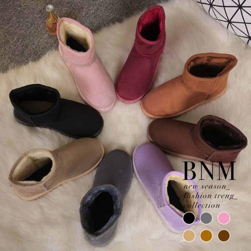 雪靴冬日 款百搭多色素面溫暖毛絨絨舒適雪靴短靴BNM