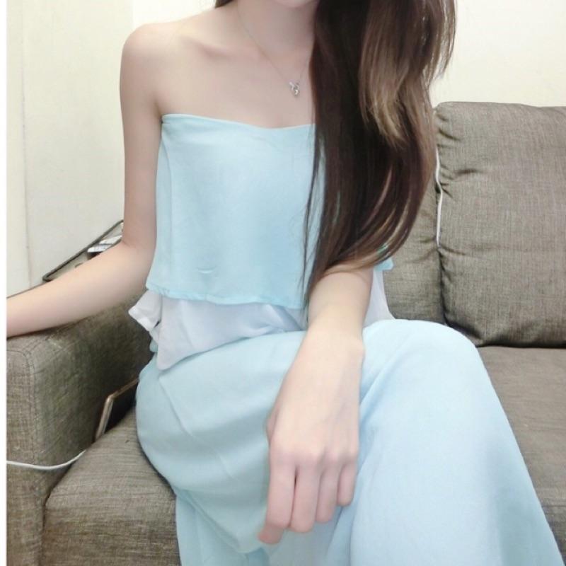 荷葉雪紡平口長洋裝(粉色)