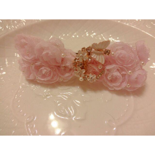 髮夾Rainiedream 韓風凡爾賽玫瑰夢幻蝴蝶飛舞旋轉著美美滴粉色 小珍珠更顯細膩優雅