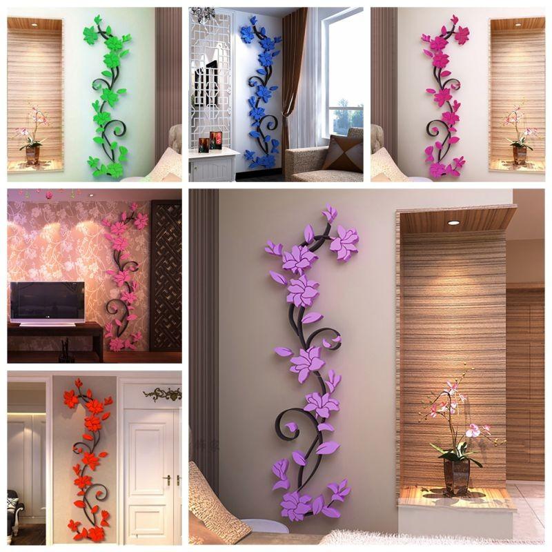 亞克力3D 水晶立體牆貼客廳牆貼薔薇花玄關走廊電視背景牆花卉裝飾