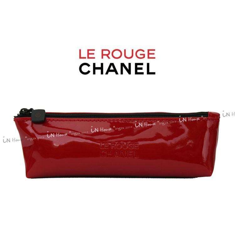 IN House 香奈兒專櫃贈品Chanel coco rouge 大紅漆皮化妝包筆袋筆盒