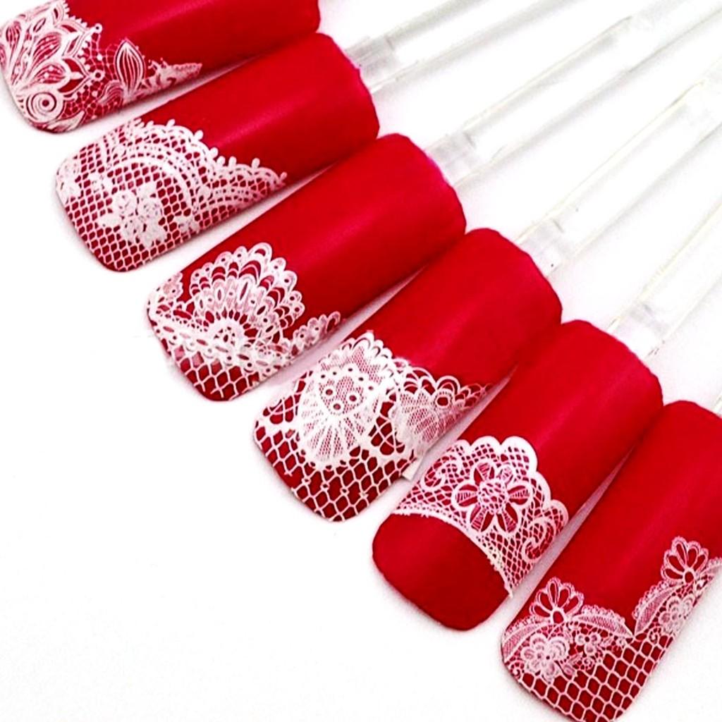 指甲彩繪DIY 超美 3D 蕾絲美甲貼紙半貼 隨心所欲 美甲工具美甲裝飾 24 片入