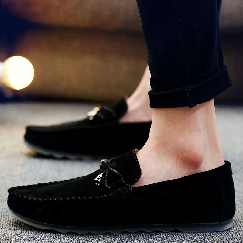 男鞋真皮磨砂豆豆鞋男士日常休閒皮鞋圓頭套腳透氣樂福鞋駕