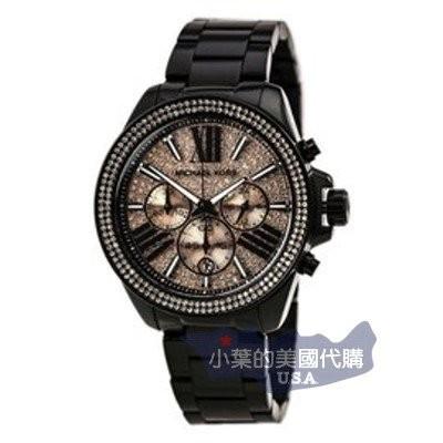 美國 Michael Kors MK 粉夜閃耀星空羅馬晶鑽黑色錶帶三眼手錶腕錶MK5879