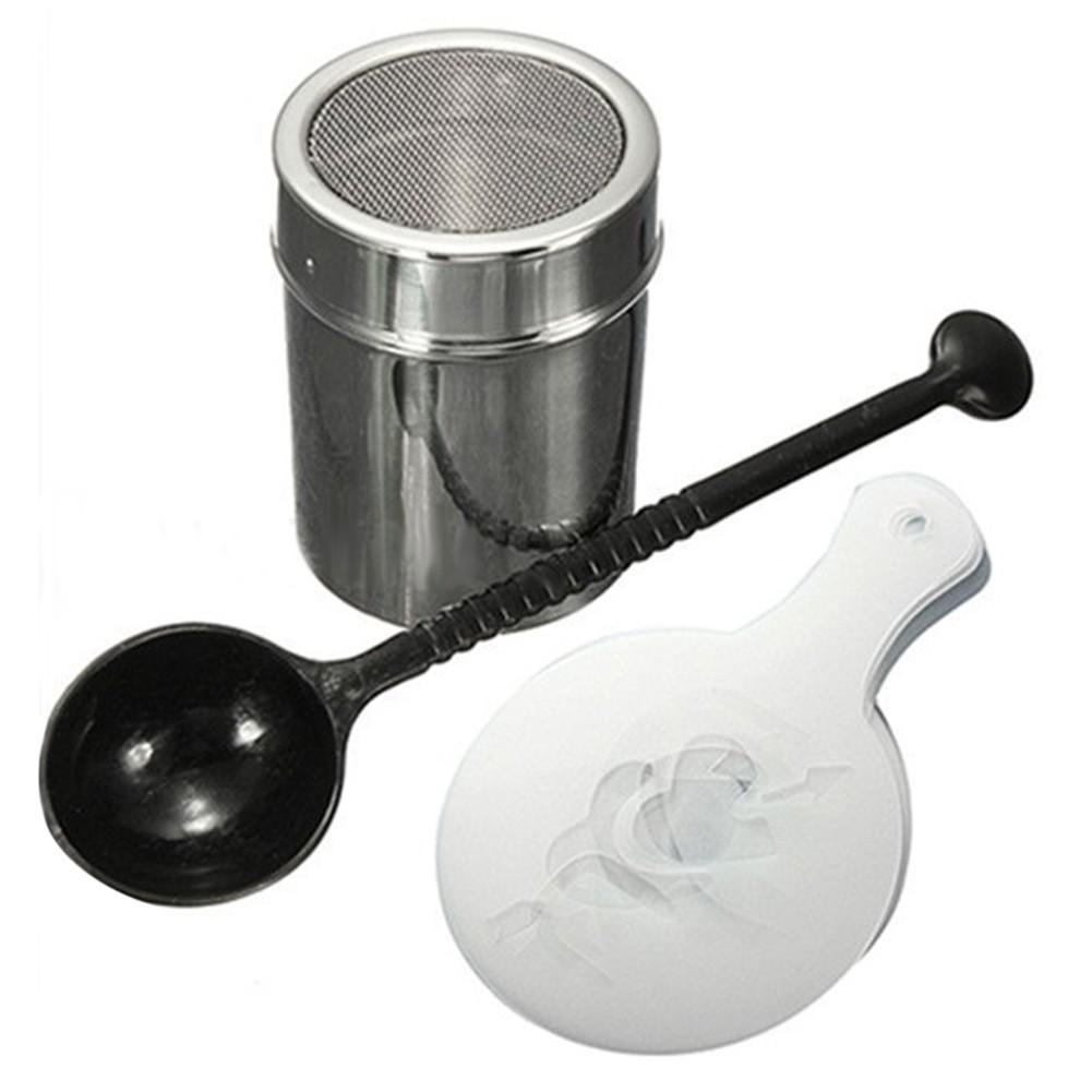 超赞!304 不銹鋼撒粉器16 個咖啡拉花模具印花模型量勺