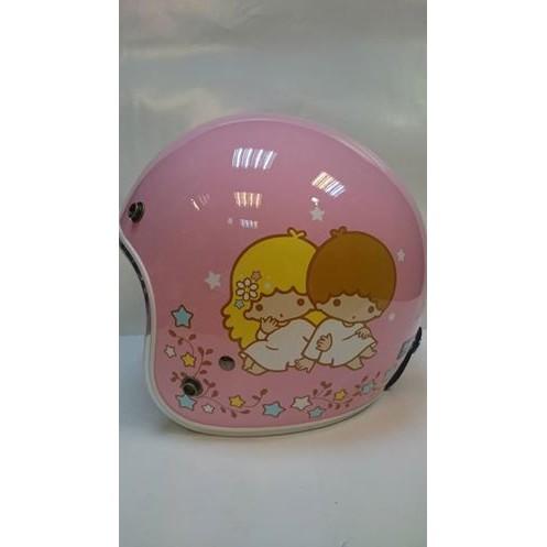 逢甲爆米花玩具店 KIKILALA 雙子星全罩3 4 騎士帽安全帽粉紅色檢驗合格