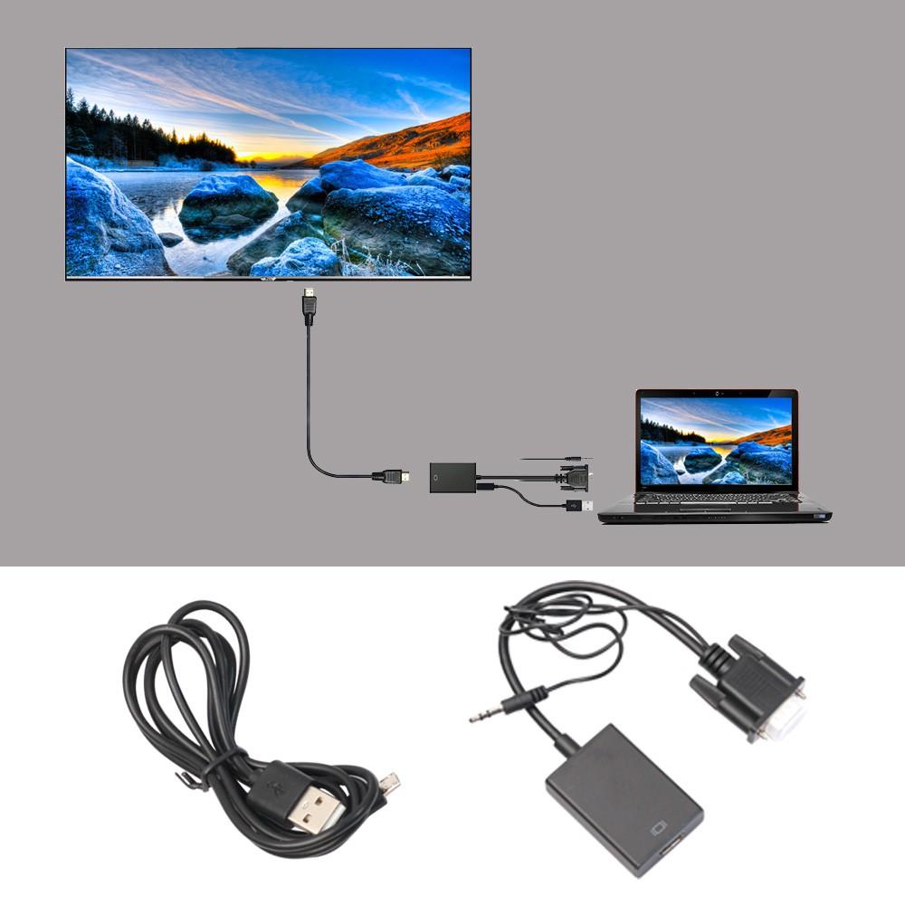 1080P 高清VGA 到HDMI 輸出AV 電視高清音頻視頻線轉換適配器與高清電視投影機