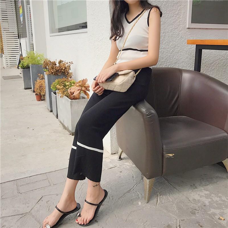 韓系 套裝chic 針織拼色無袖吊帶背心寬松高腰女裝 九分闊腿褲 套裝
