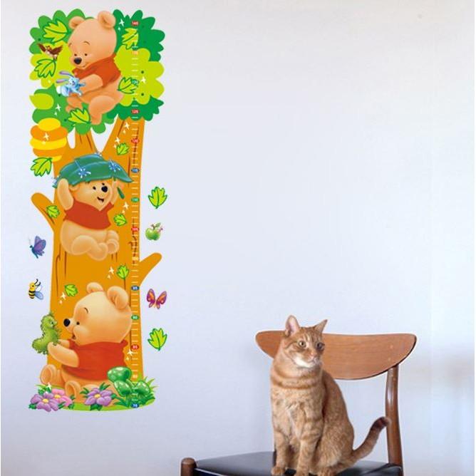 新增捲筒寄送~952 ~小熊維尼爬樹款身高貼可移除兒童房牆貼壁貼客廳裝飾~可重複黏貼~25