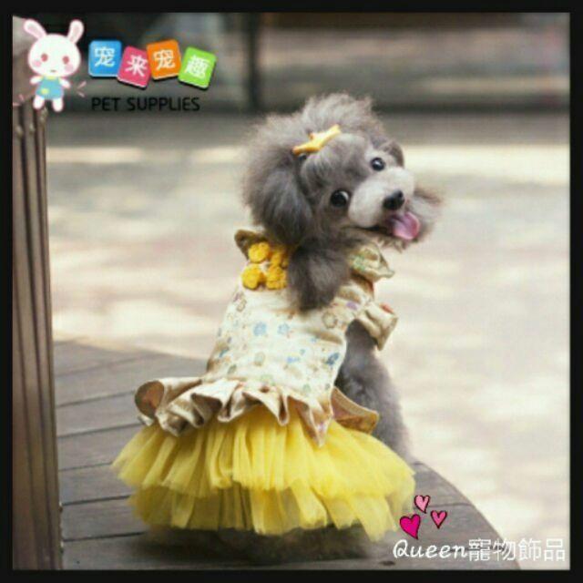 Queen 寵物飾品 典雅中國風旗袍高貴金優雅粉兩色_