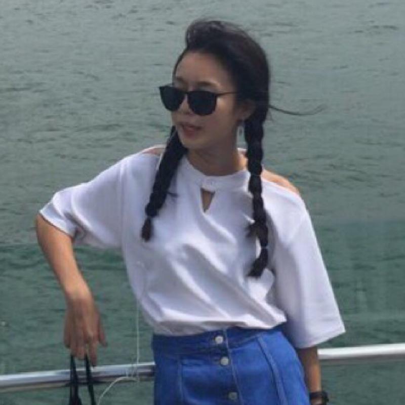 純白色鏤空露肩短袖t 恤女上衣