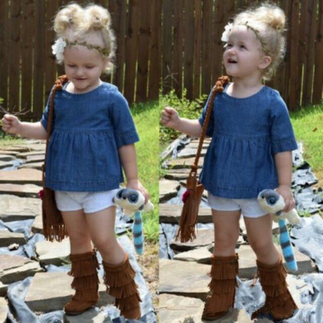 ~YeBaby 童衣鋪~ !女童牛仔娃娃衫女童七分袖牛仔上衣裙衫