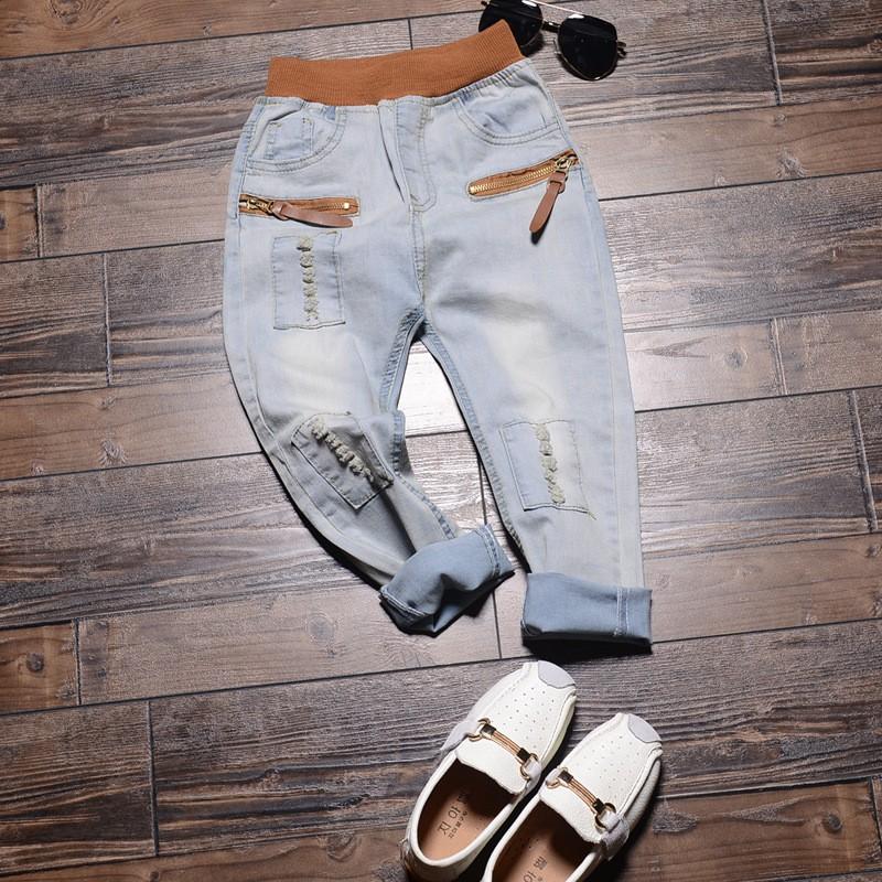 2016 男童牛仔褲長褲 款新兒童褲子 褲彈力小腳破洞童褲潮