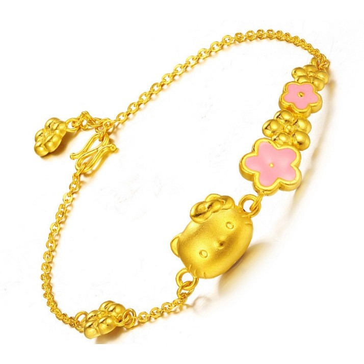 Hello Kitty 凱蒂貓手鏈手鍊3D 硬金飾品噴砂金手鐲女款S925 銀鍍黃金
