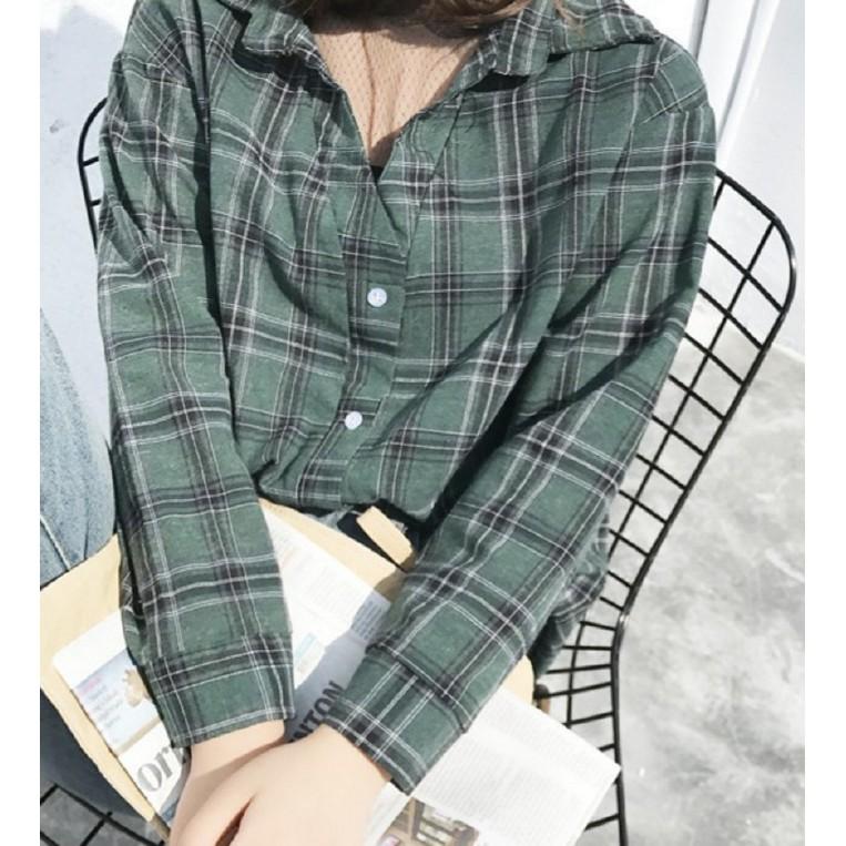 長袖襯衫▲2017 春裝波點網紗拼接寬松假兩件格子襯衫女女生衣著實拍 爆款韓系韓國女裝新品