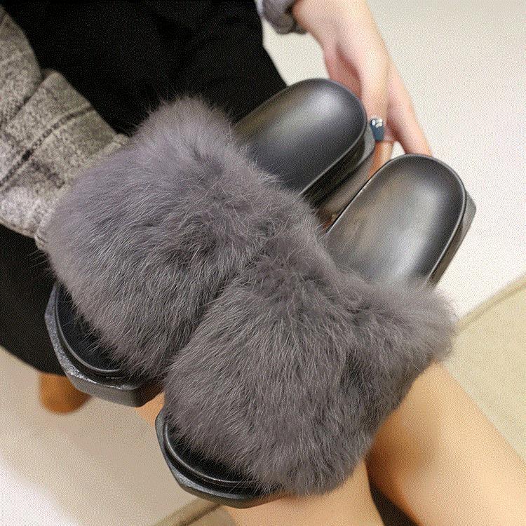 新品 露趾毛毛鞋厚底松糕跟一字型兔毛保暖拖鞋居家女馬丁鞋豆豆鞋慢跑鞋