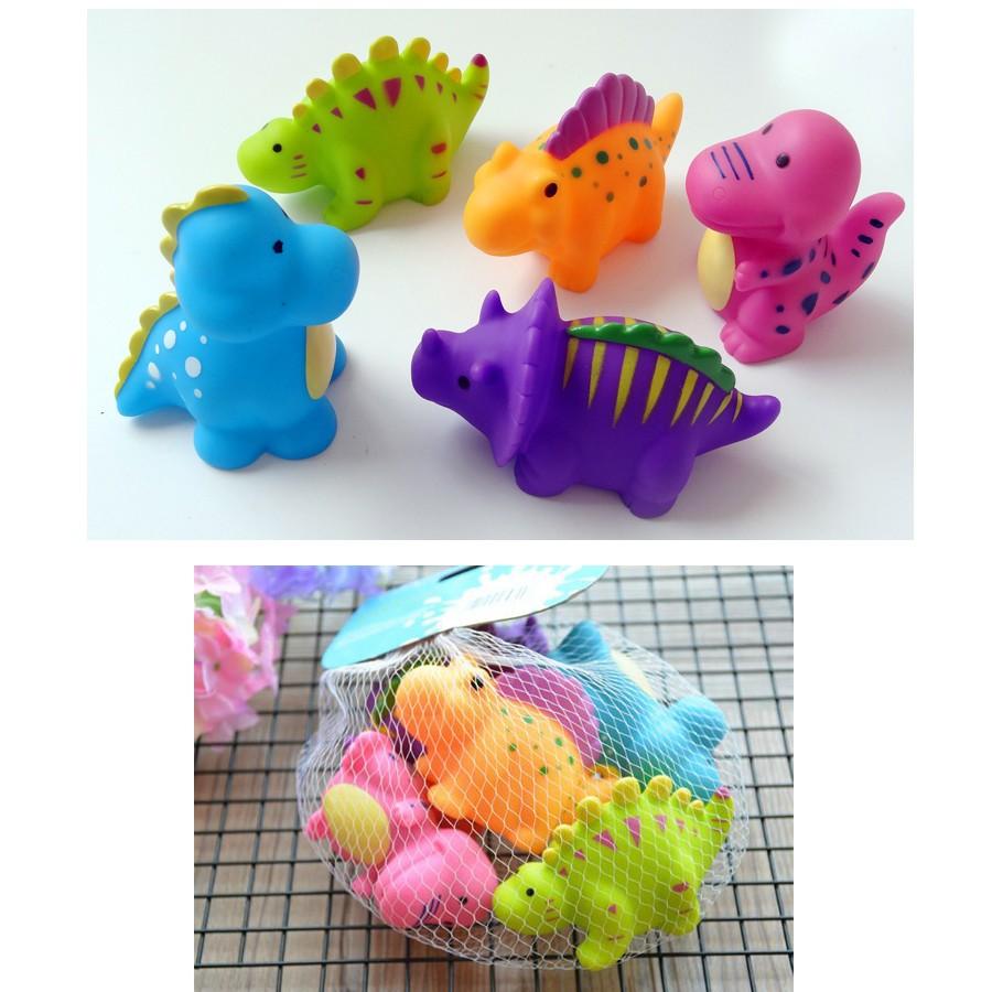 兒童洗澡玩嬰幼兒寶寶玩水戲水塑料噴水玩偶搪膠動物恐龍牙膠