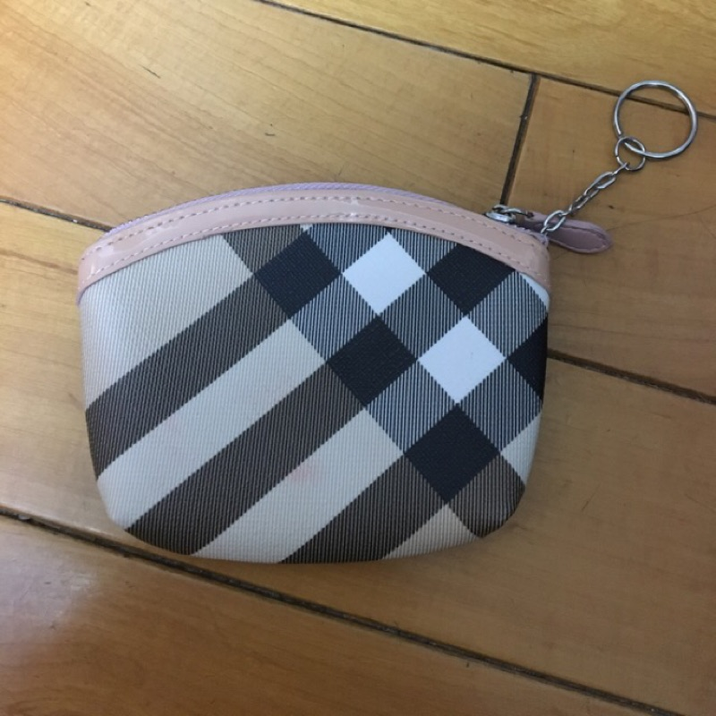 Polo )粉色漆皮格紋零錢鑰匙包