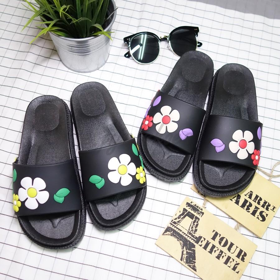繽紛夏日花朵防水一字平口軟底增高厚底拖鞋
