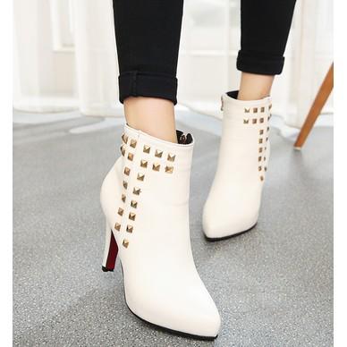 愛衣小鋪2016 鉚釘女鞋短靴側拉鏈尖頭高跟裸靴細跟防水臺馬丁靴及踝靴