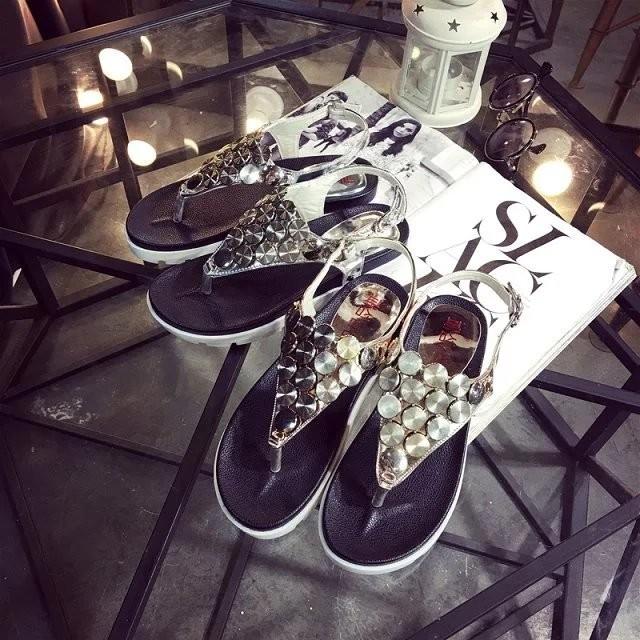 韓流2016  夾趾涼鞋女夏平底松糕跟女學生羅馬厚底夾腳涼鞋子潮粗跟涼鞋涼鞋真皮女鞋百麗女