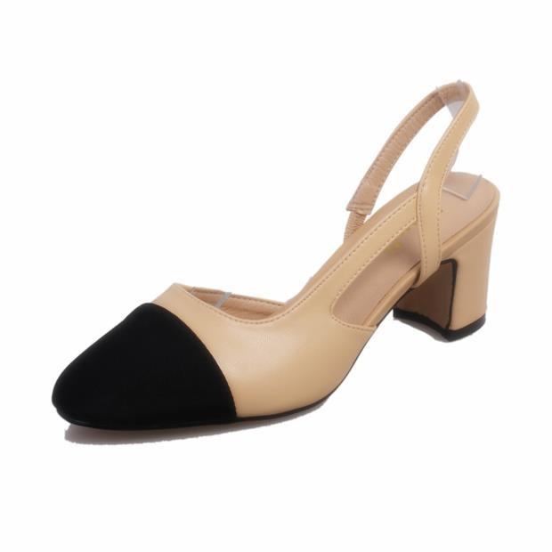 高跟鞋圓頭高跟鞋尖頭高跟鞋涼鞋2016 春夏 拼色粗跟涼鞋女淺口 雙色鞋女高跟鞋中跟 女鞋