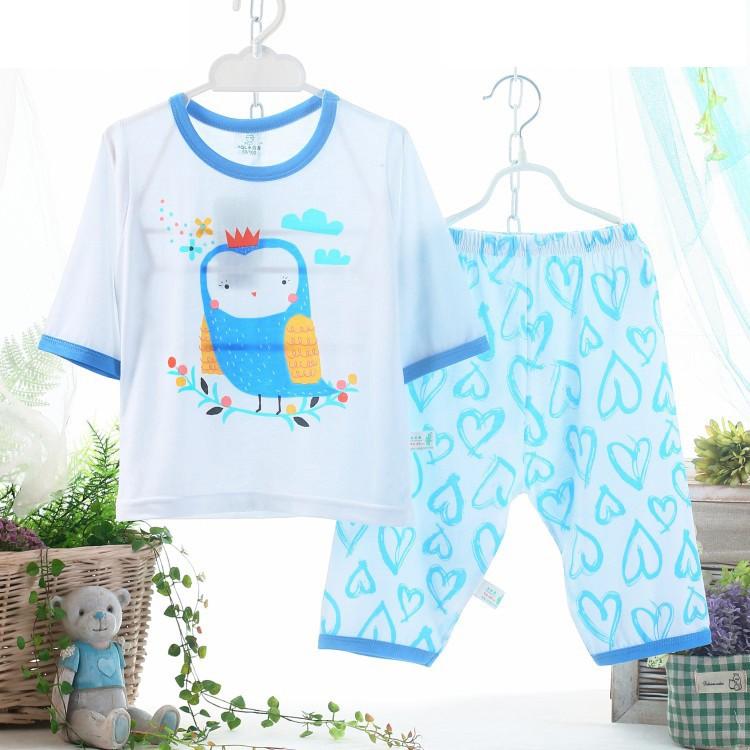 貓頭鷹竹纖維超薄小寶寶睡衣兒童居家服藍衣褲寶貝E X0012 空調衫防蚊套裝七分袖半袖中袖