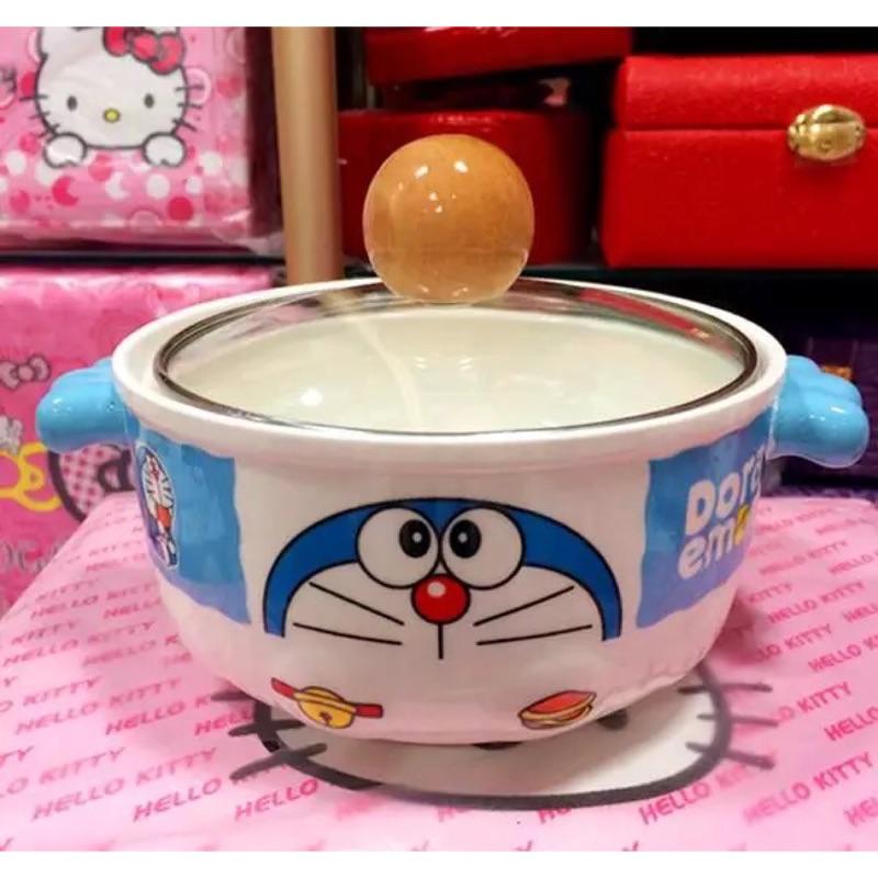 哆啦a 夢陶瓷碗hello kitty 玻璃蓋陶瓷碗