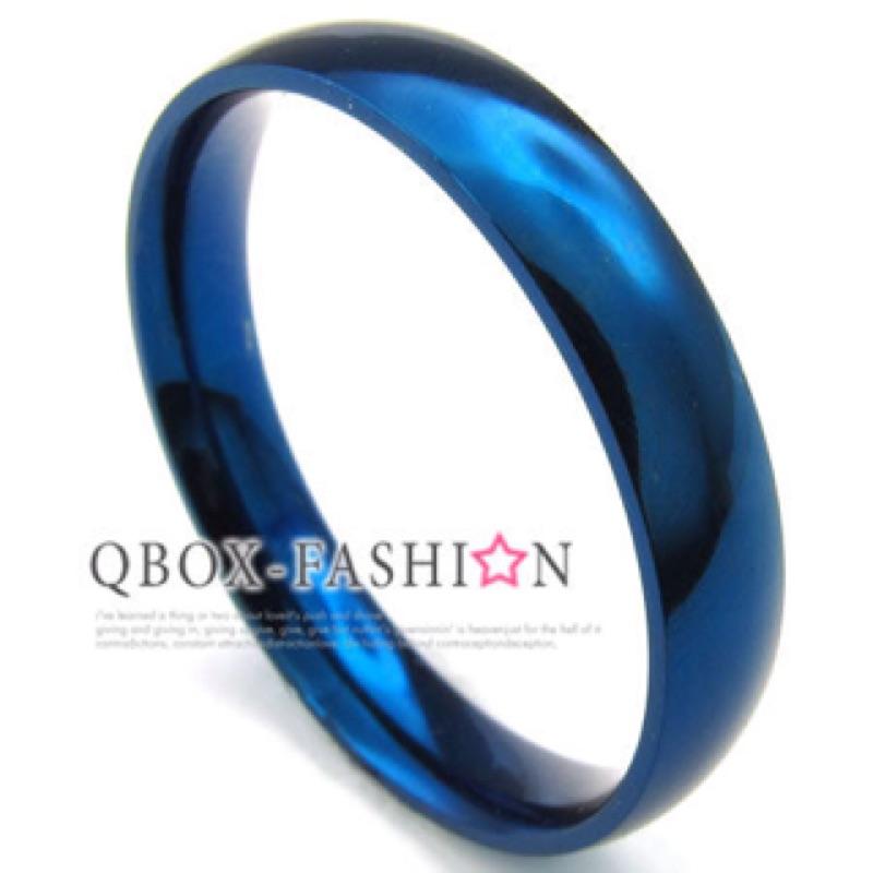 0914 0 4cm ~W10023311 ~精緻 素面藍色316L 鈦鋼戒指戒環