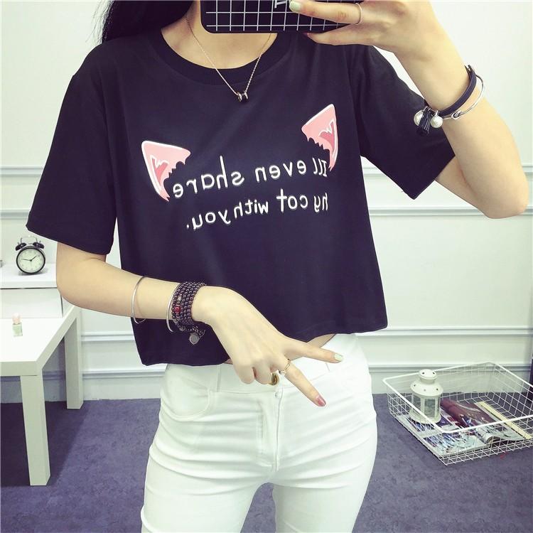 ❤ ~白色M 、粉色L 有 ❤ 夏裝露臍短款短袖t 卹寬鬆卡通印花露肚臍高腰上衣打底衫女潮
