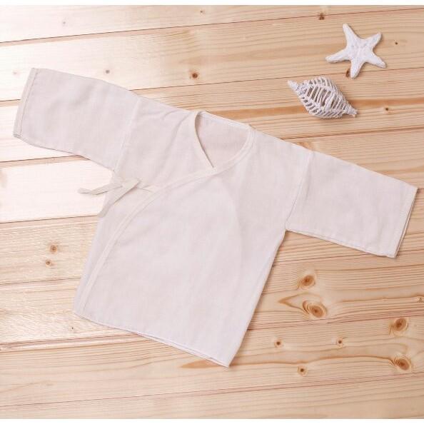 製有機棉新生兒肚衣紗布衣寶寶上衣(原色、下擺密拷)3723