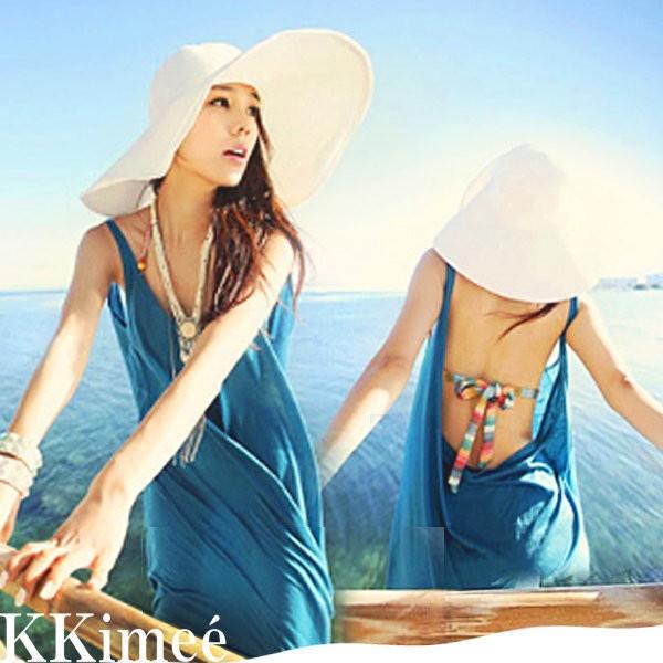 KK Imee ~SEXY 性感棉質吊帶連衣裙大U 深v 大露背罩衫沙灘裙可搭泳裝比基尼~