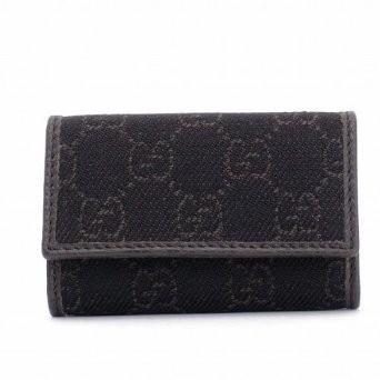 在台~美國專櫃購入~ 正品Gucci 咖啡色GG 緹花單寧布鑰匙包