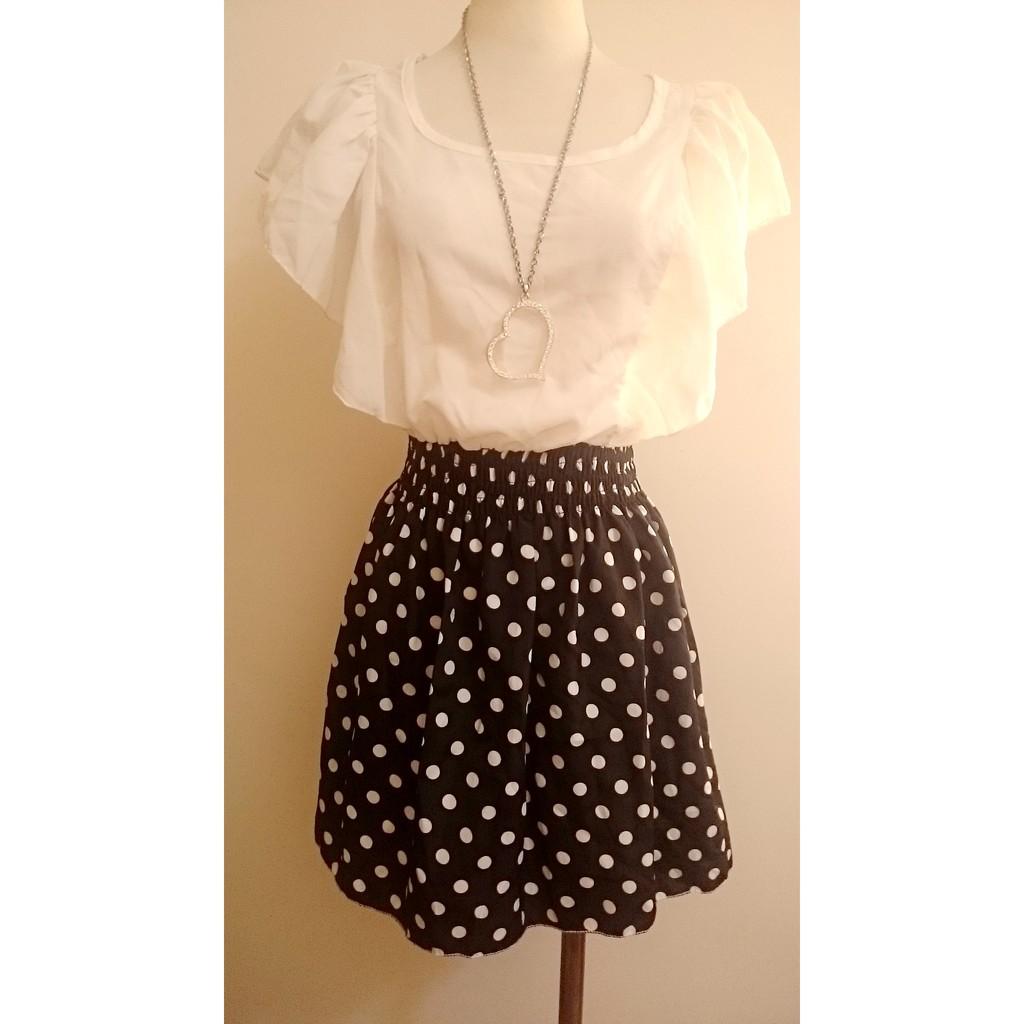 黑白色透膚雪紡紗水玉點點荷葉邊袖縮腰顯瘦甜美可愛洋裝連身裙日韓